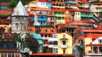Colorful Tbilisi, Georgia, housing